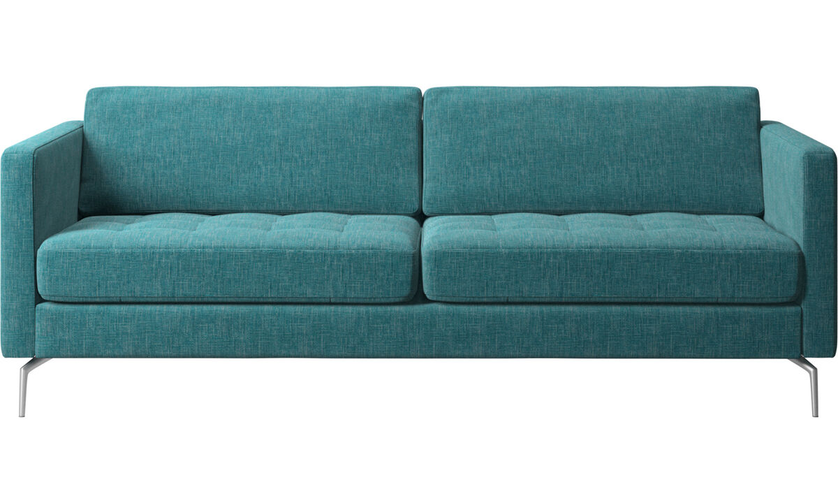 Canapés 2 places et demi - canapé Osaka, assise capitonnée - Bleu - Tissu