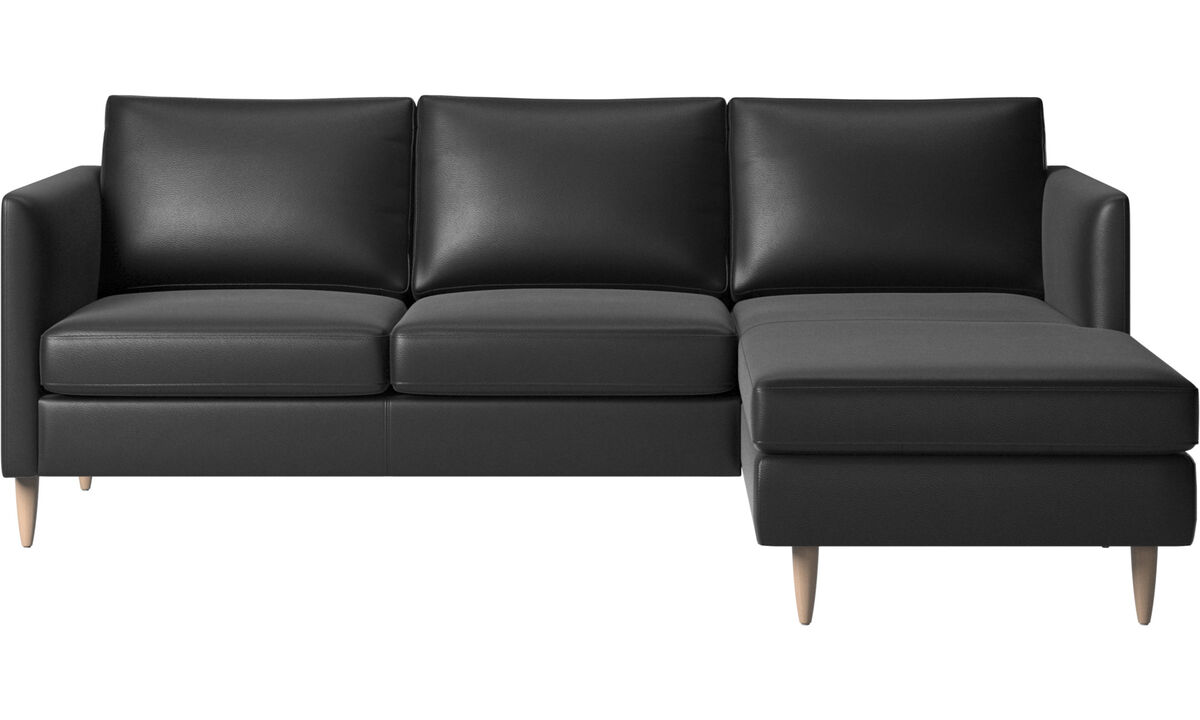 Chaise longue sofas - Indivi sofa with resting unit - Black - Leather