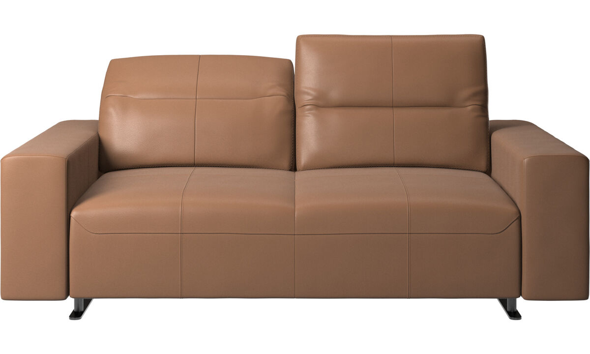 2 seater sofas - Hampton sofa with adjustable back and storage on the right side - Brown - Leather