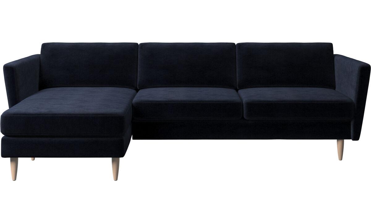 Canapés avec chaise longue - canapé Osaka avec chaise longue, assise classique - Bleu - Tissu