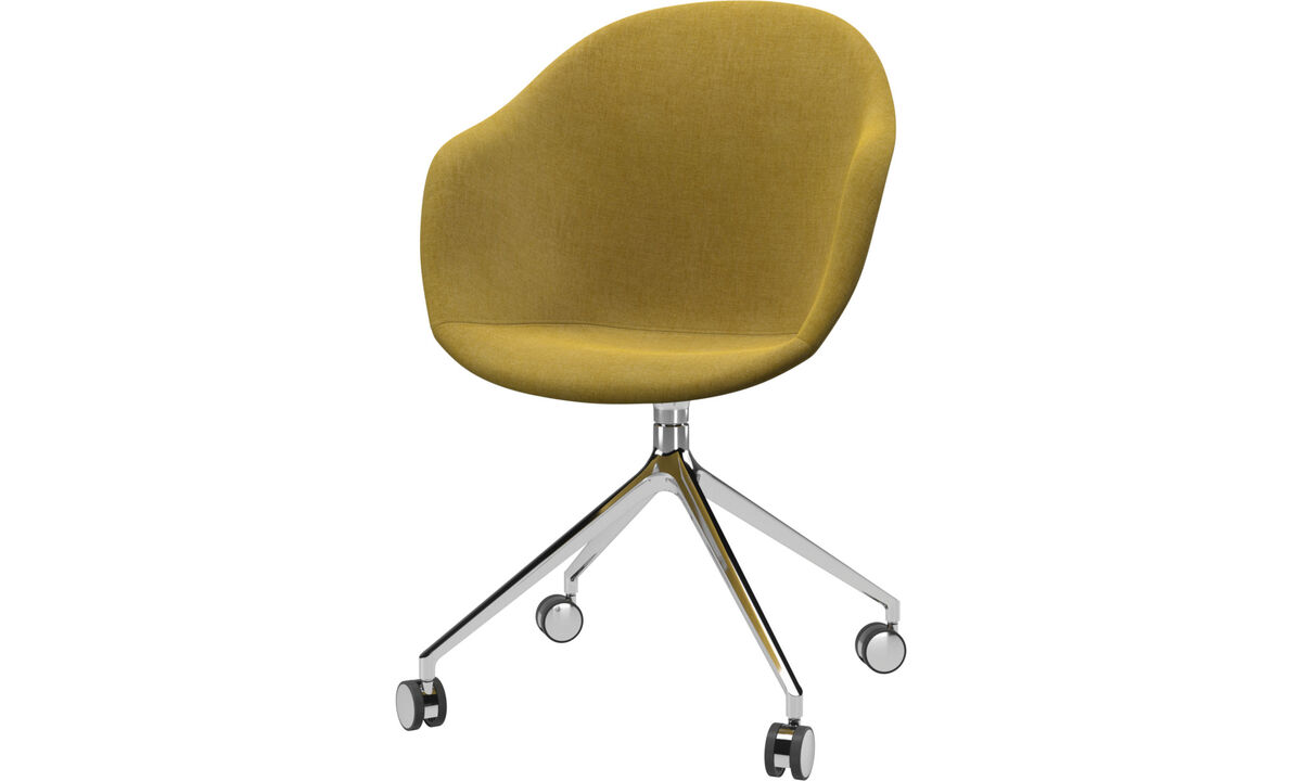 Dining chairs - Adelaide chair with swivel function and wheels - Yellow - Fabric