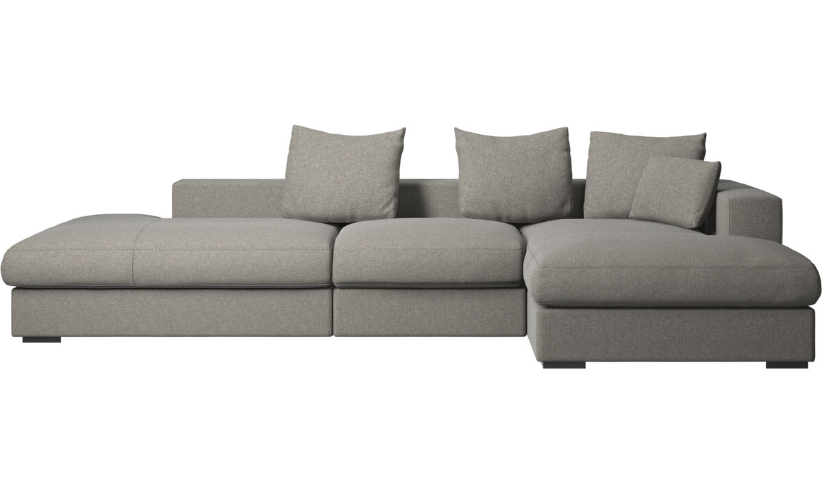 3 seater sofas - Cenova sofa with lounging and resting unit - Black - Fabric