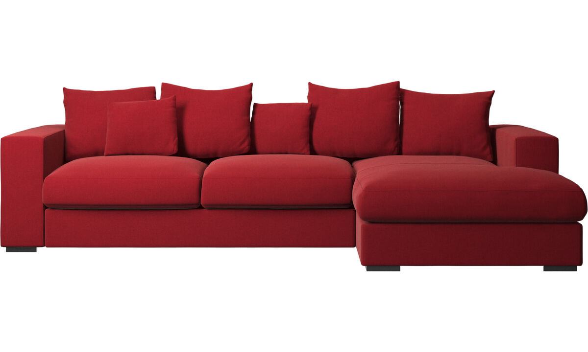 Chaise longue sofas - Cenova sofa with resting unit - Red - Fabric