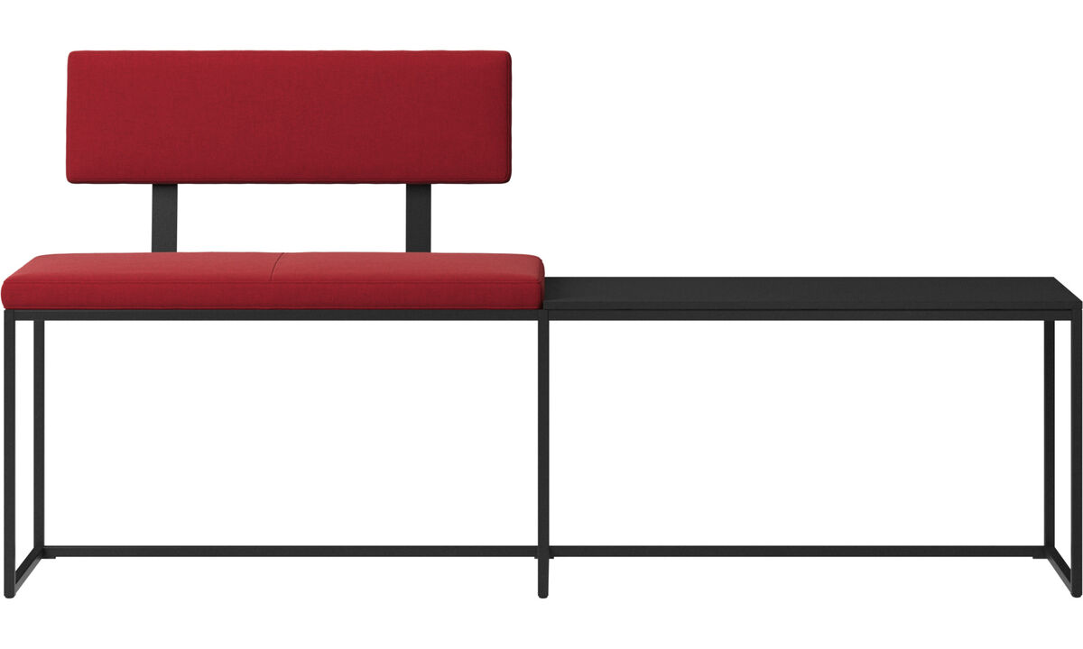 Benches - London large bench with cushion, shelf and backrest - Red - Fabric