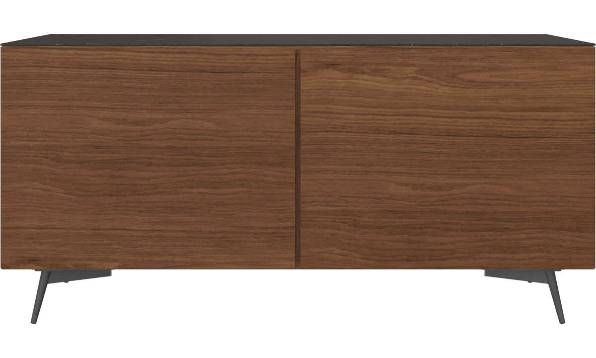 Sideboards - Lugano sideboard with top-plate - Black - Walnut