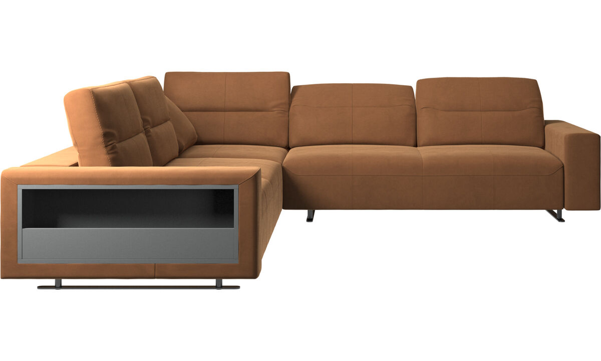 Sofás esquineros - Sofá esquinero Hampton con respaldo ajustable y almacenamiento en lado izquierdo - En marrón - Piel