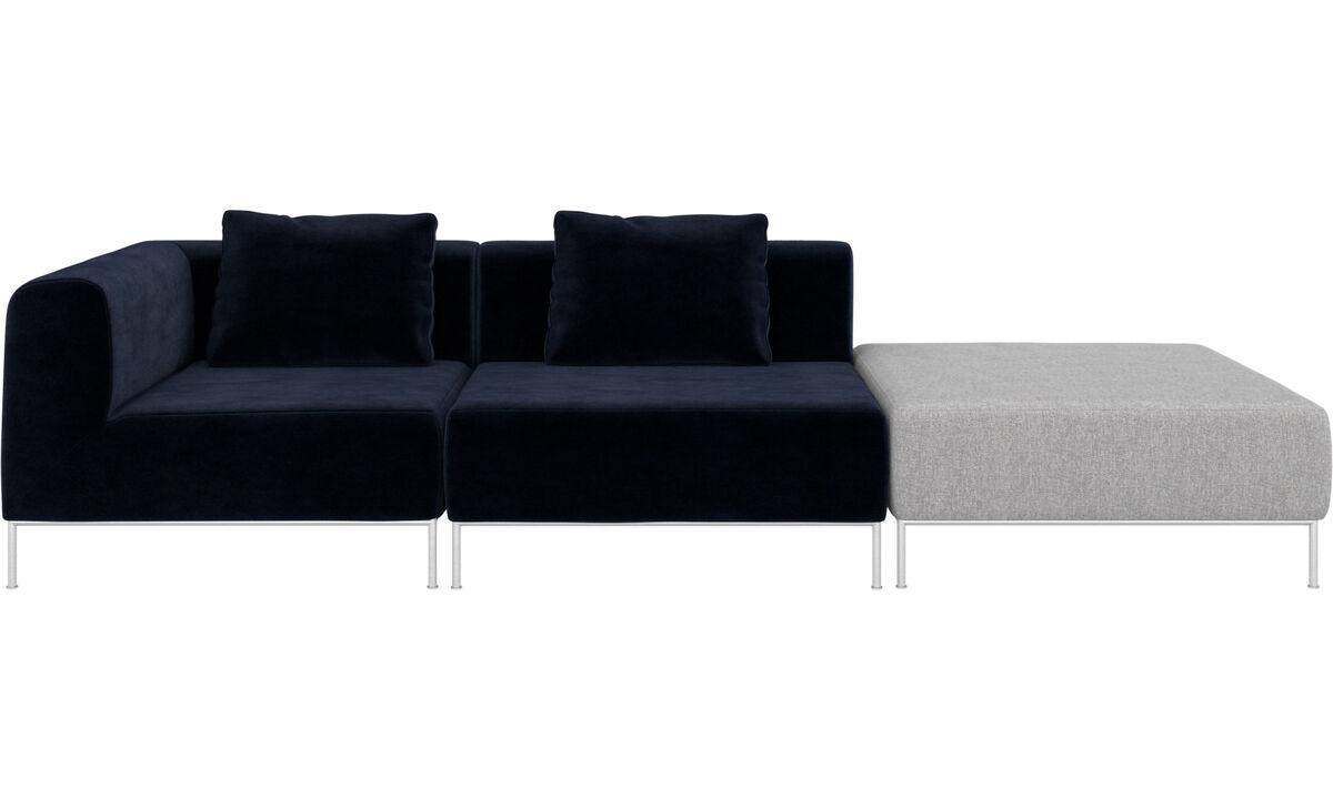 Hjørnesofaer - Miami sofa med puf på højre side - Blå - Stof
