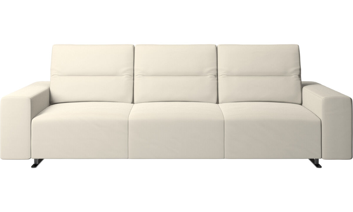 New designs - Hampton sofa with adjustable back and storage on the right side - White - Fabric