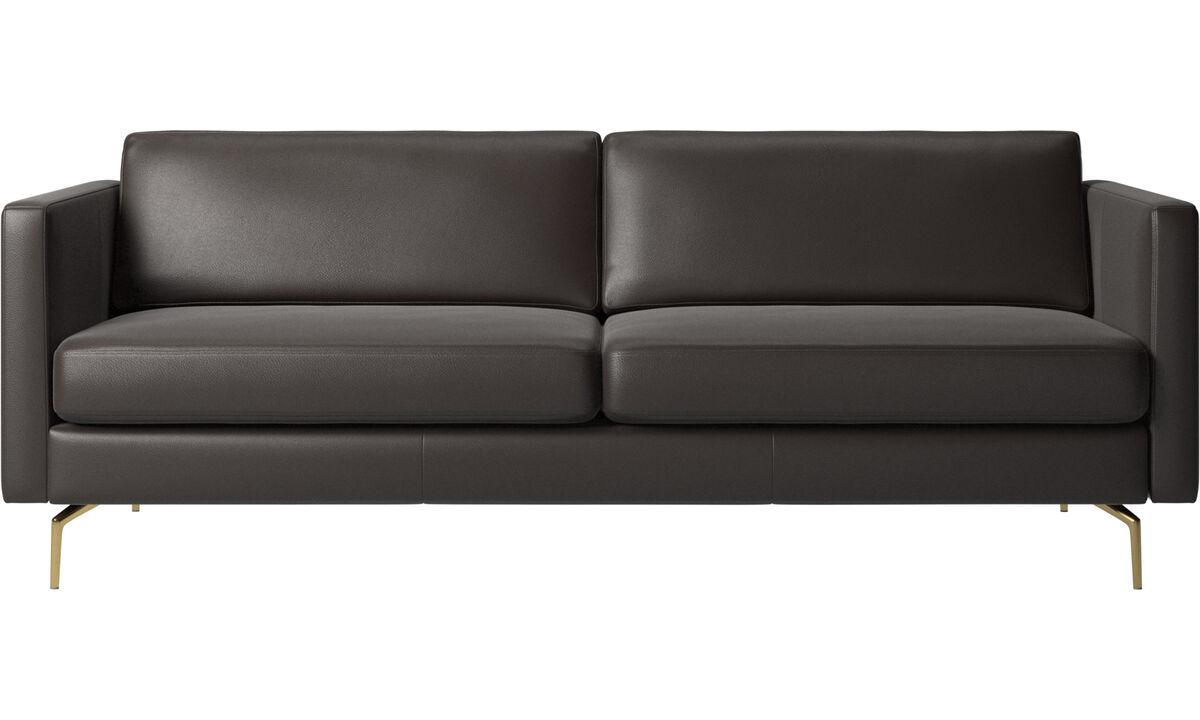 Sofás de 2 plazas y media - sofá Osaka, asiento regular - En marrón - Piel