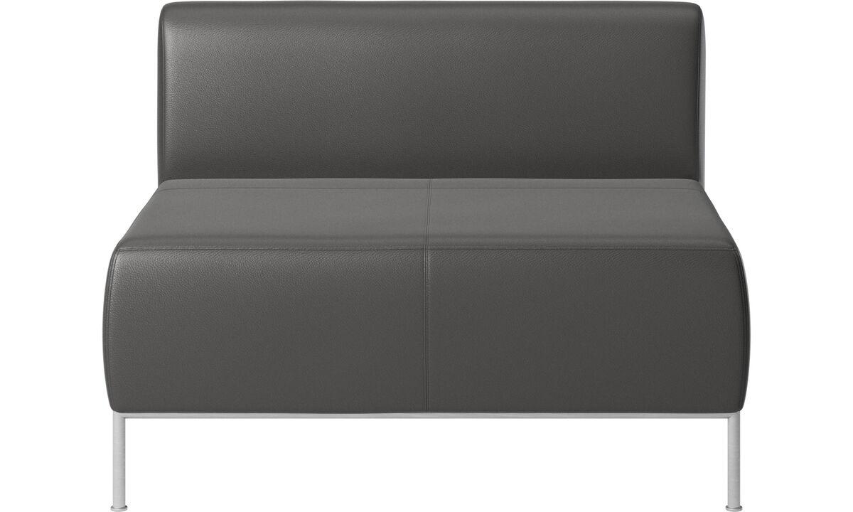 Modular sofas - Miami seat with back - Grey - Leather