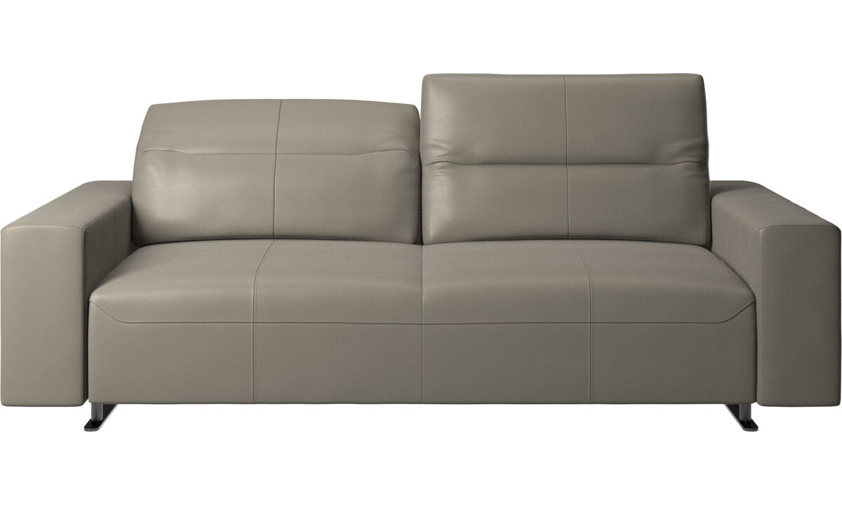 2.5 seater sofas - Hampton sofa with adjustable back and storage on the right side - Grey - Leather