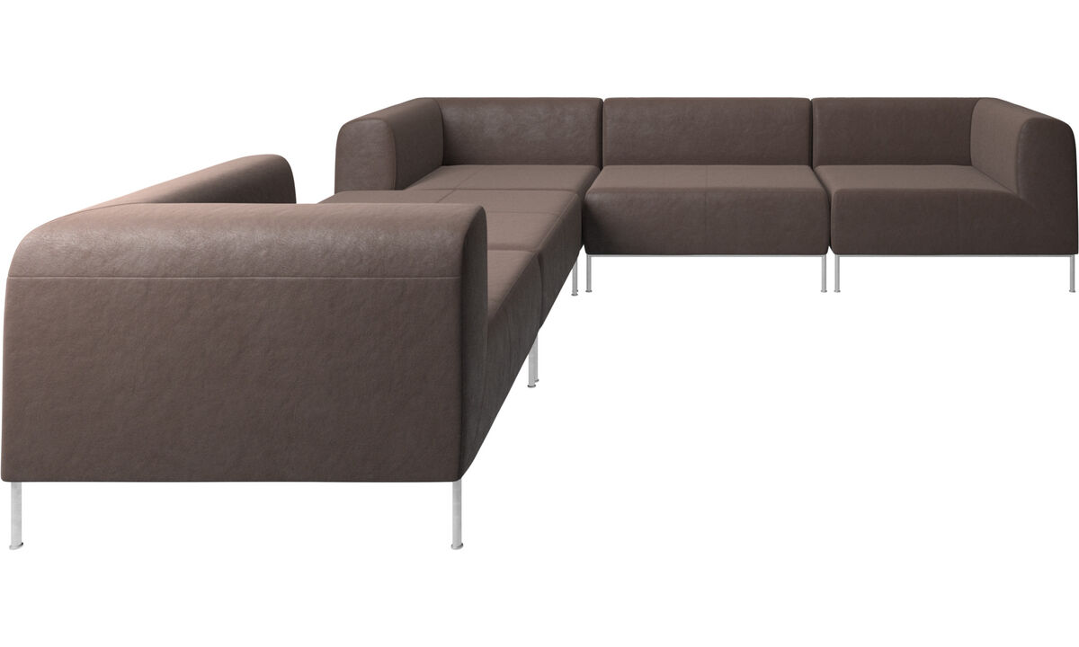 Modular sofas - Miami corner sofa with footstool on left side - Brown - Leather