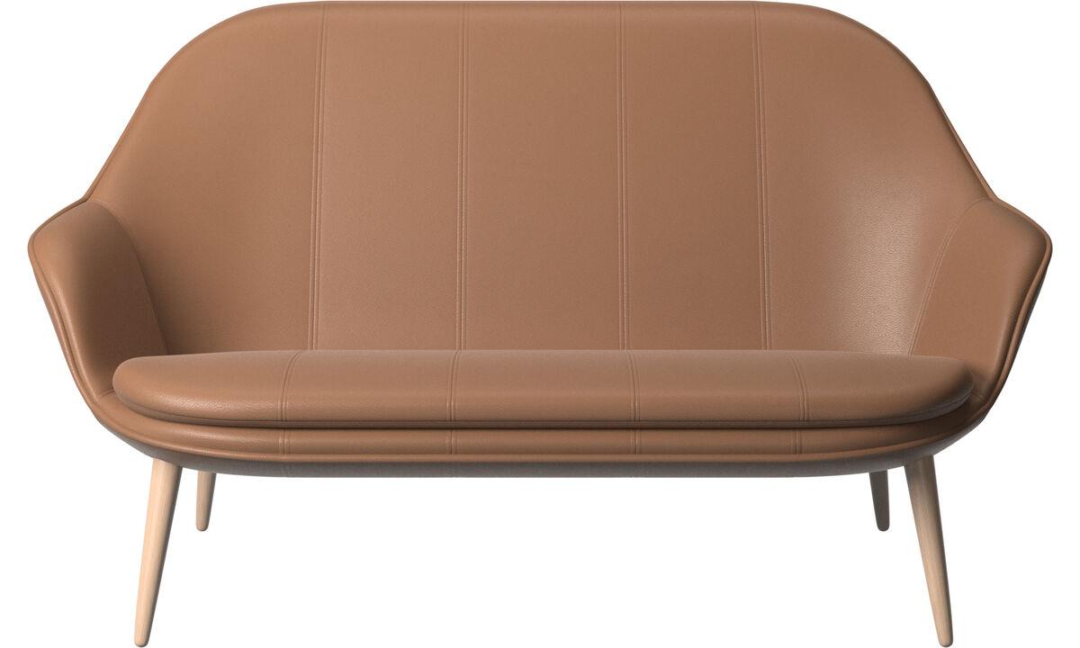 Sofás de 2 plazas - sofá Adelaide - En marrón - Piel