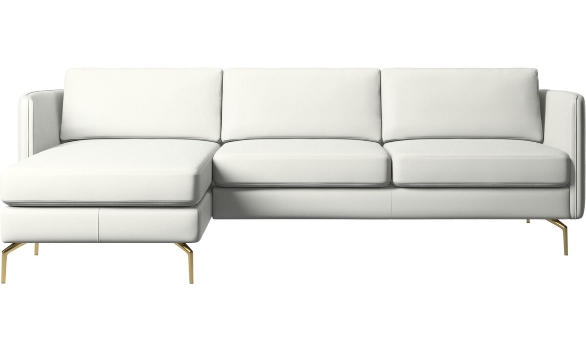 Chaise lounge sofas - Osaka sofa with resting unit, regular seat - White - Leather