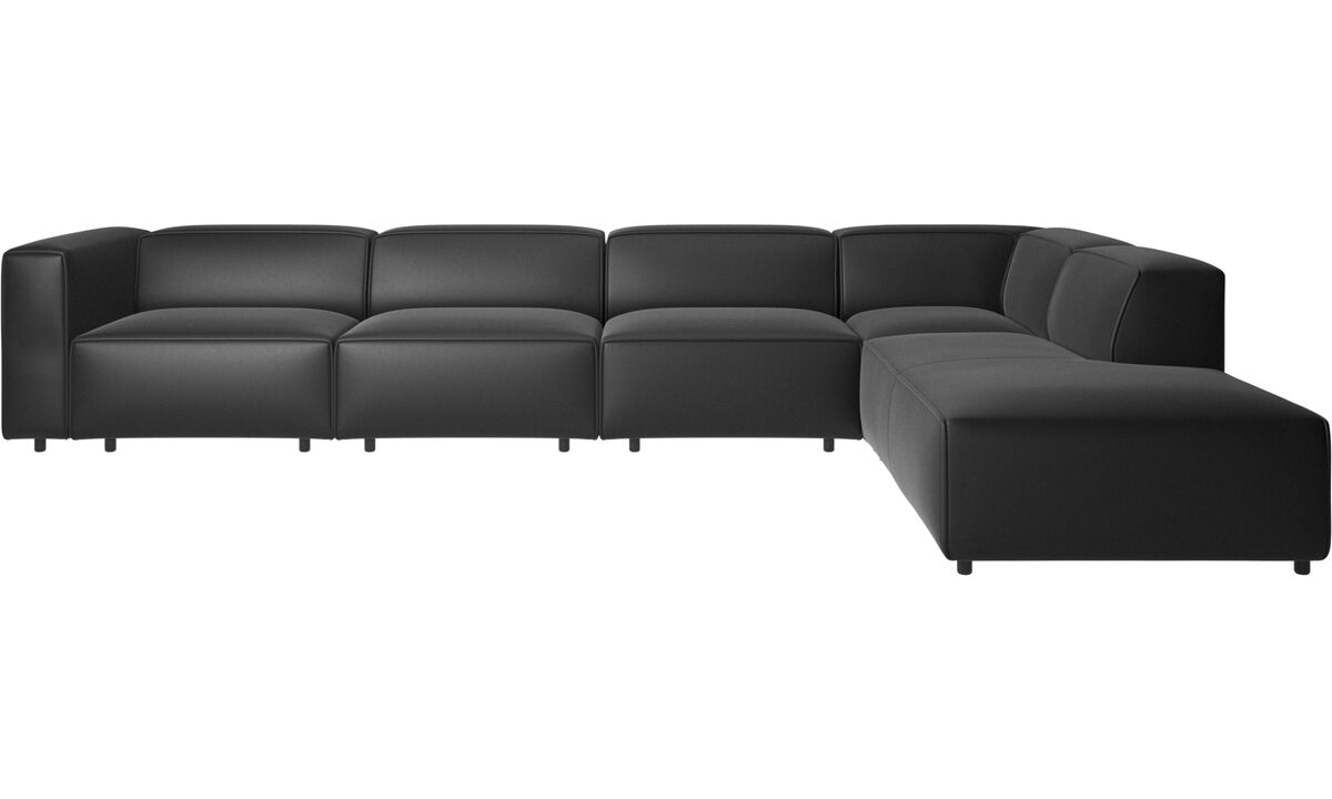 Corner sofas - Carmo motion corner sofa - Black - Leather