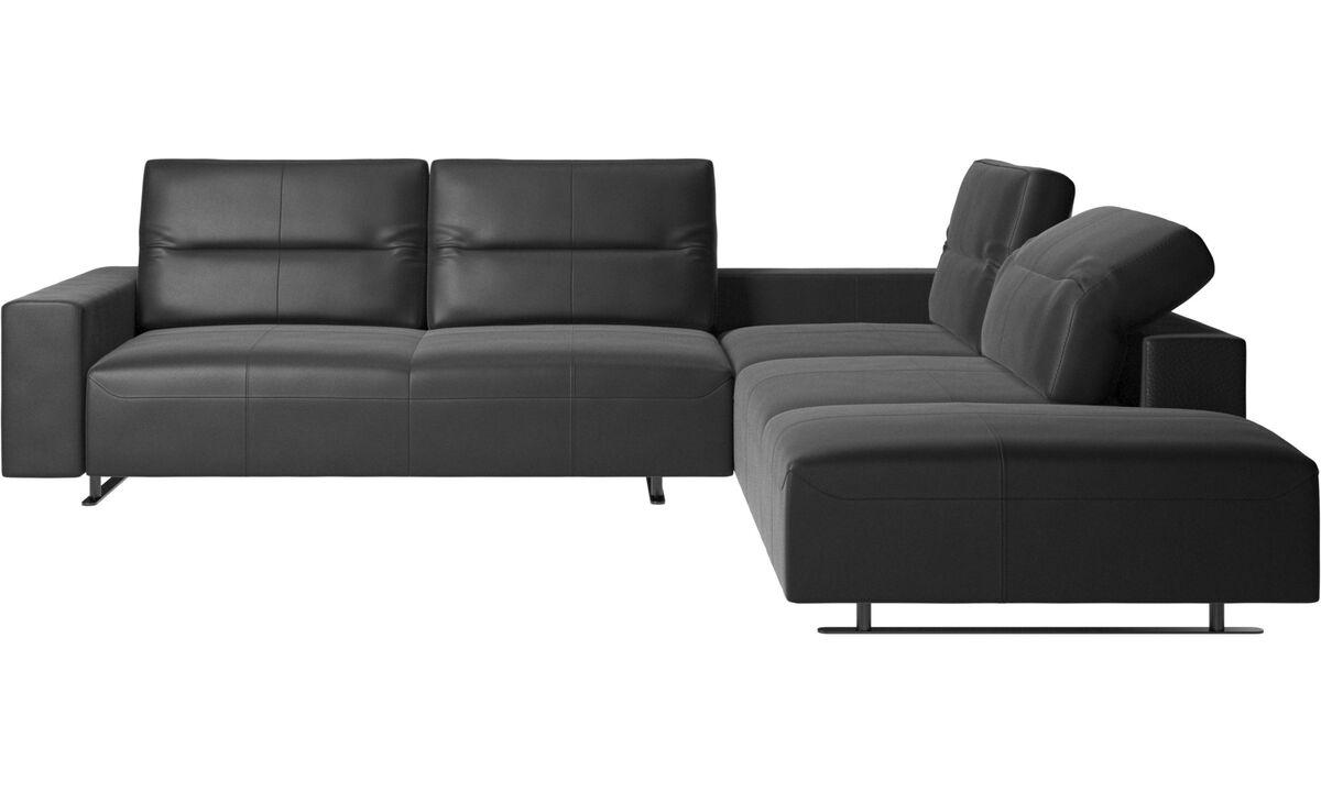 Corner sofas - Hampton corner sofa with adjustable back and storage on left side - Black - Leather