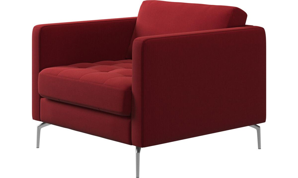 Lænestole - Osaka stol, tuftet sædehynde - Rød - Stof