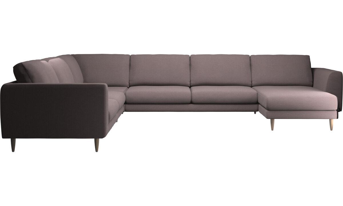Sofás esquineros - Sofá esquinero Fargo con módulo chaise-longue - Morado - Tela