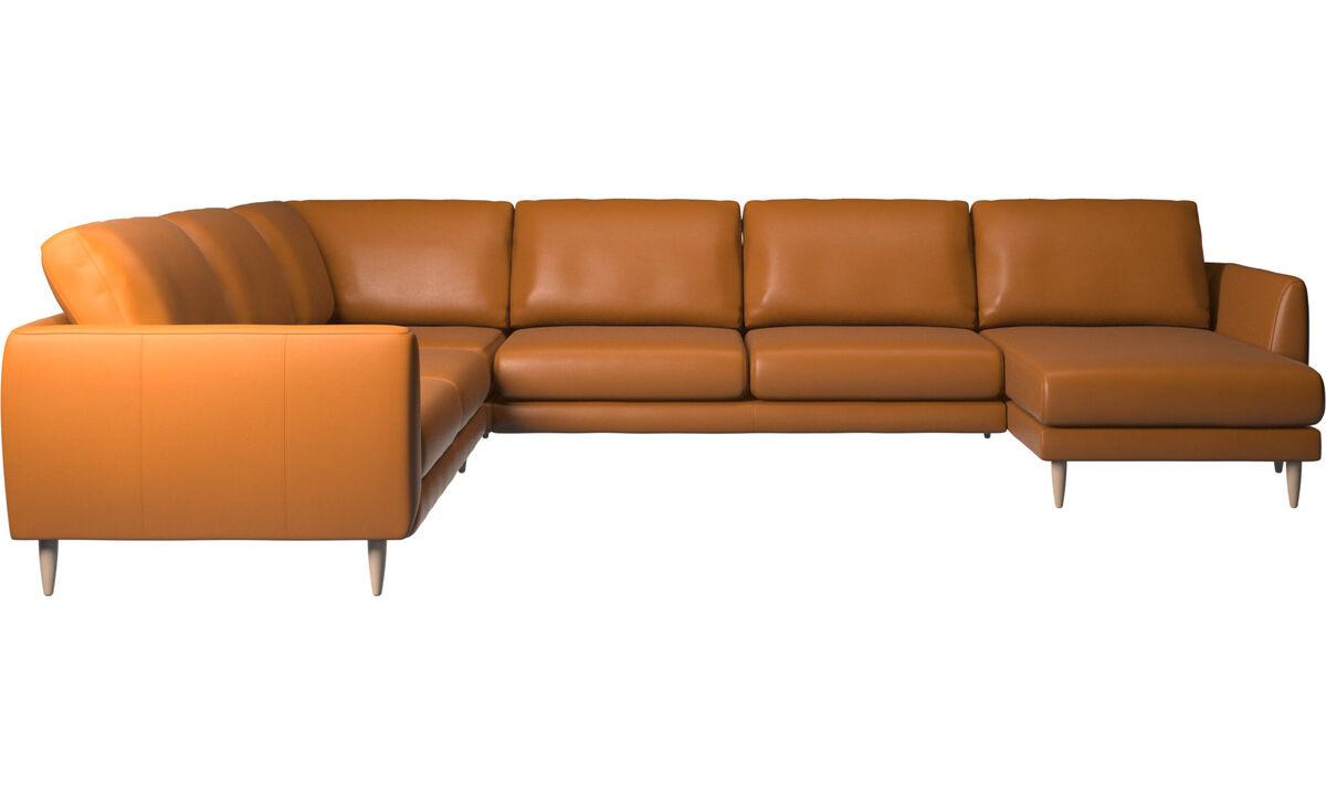 Sofás de canto - sofá de canto Fargo com módulo chaise-longue - Castanho - Pele