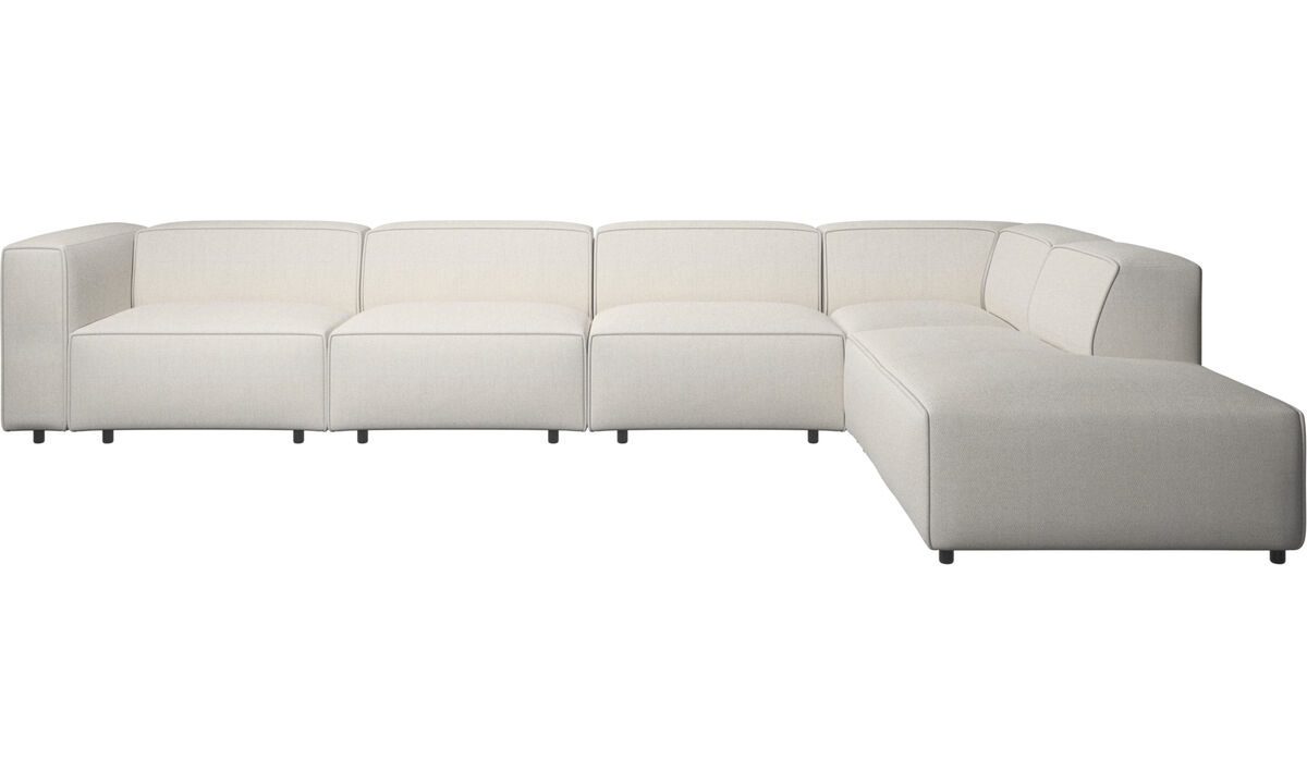 Sofas with open end - Carmo motion corner sofa - White - Fabric