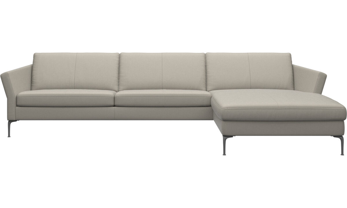 Chaise lounge sofas - Marseille sofa with resting unit - White - Leather