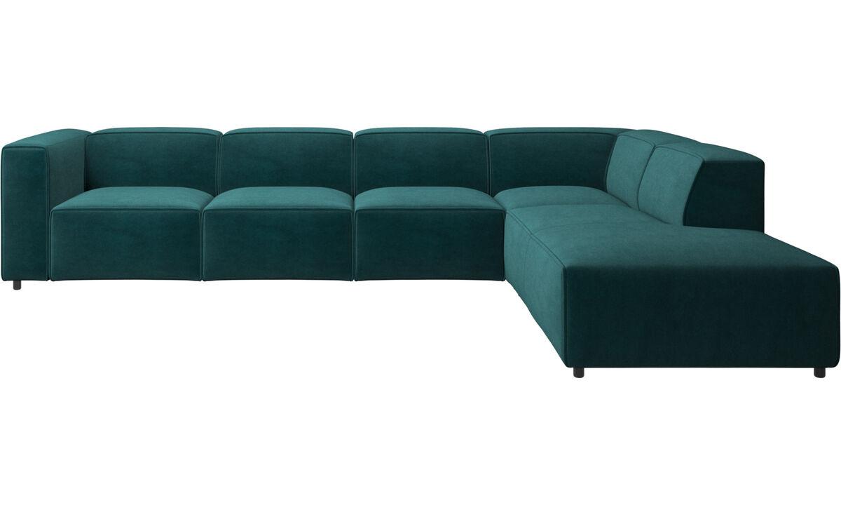 Corner sofas - Carmo corner sofa with lounging unit - Blue - Fabric