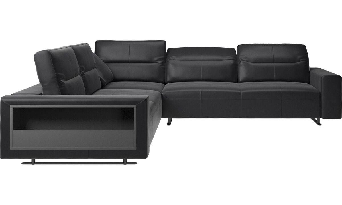 Corner sofas - Hampton corner sofa with adjustable back and storage - Black - Leather