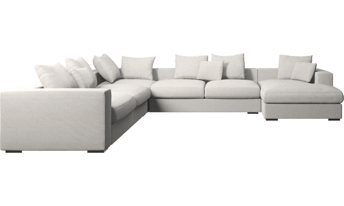 Chaise longue sofas - Cenova corner sofa with resting unit - White - Fabric