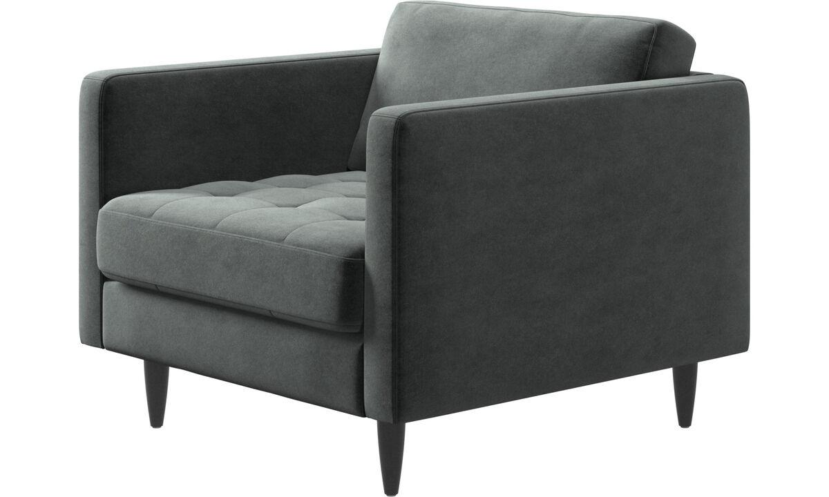 Nieuw design - Osaka fauteuil, gecapitonneerde zitting - Groen - Stof