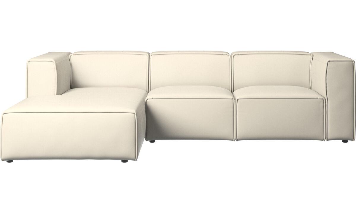 Sofás reclinables - Sofá Carmo con movimiento y módulo de descanso - Blanco - Piel