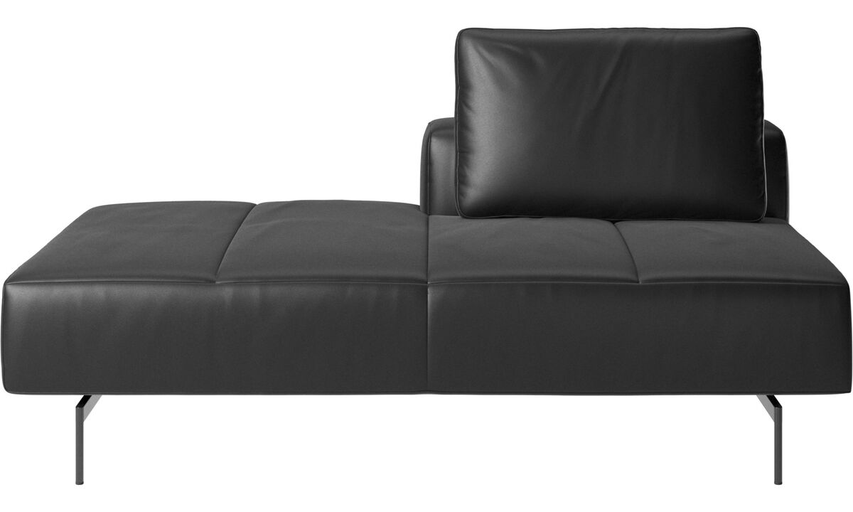 Modular sofas - Amsterdam Iounging module for sofa, back rest right, open end left - Black - Leather