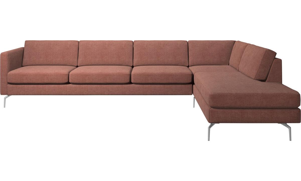 Sofás de canto - Sofá de canto Osaka com chaise-lounge, assento regular - Vermelho - Tecido