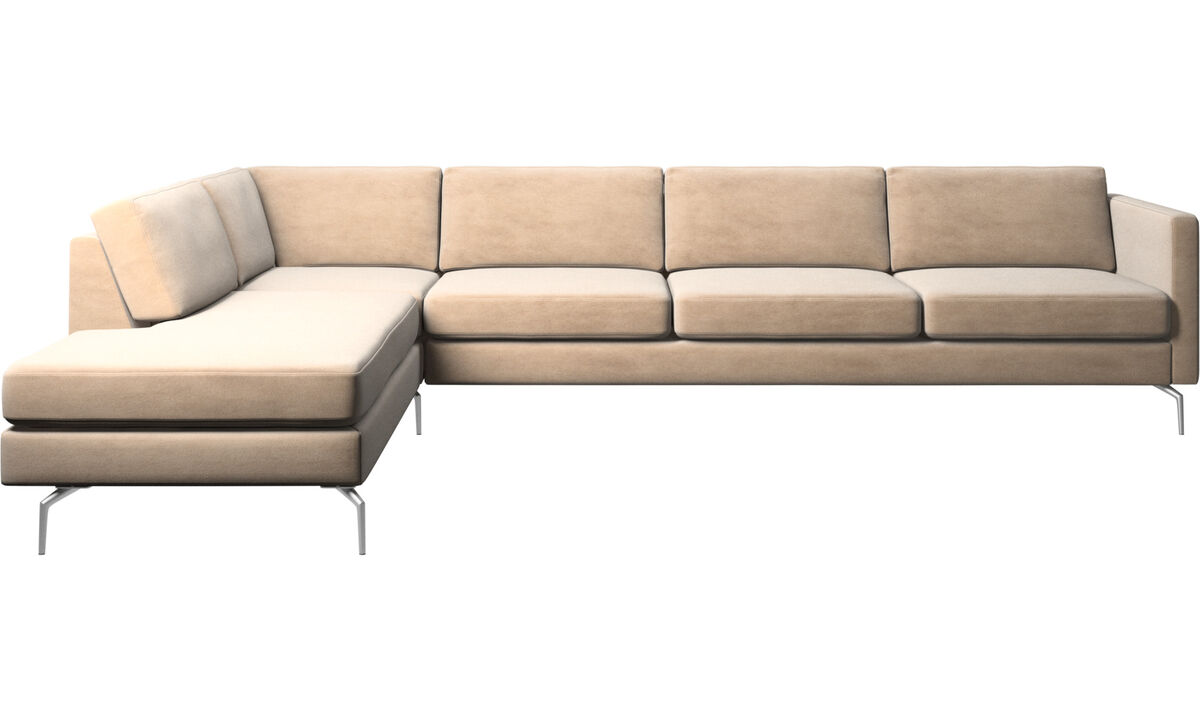 Sofas with open end - Osaka corner sofa with lounging unit, regular seat - Beige - Fabric