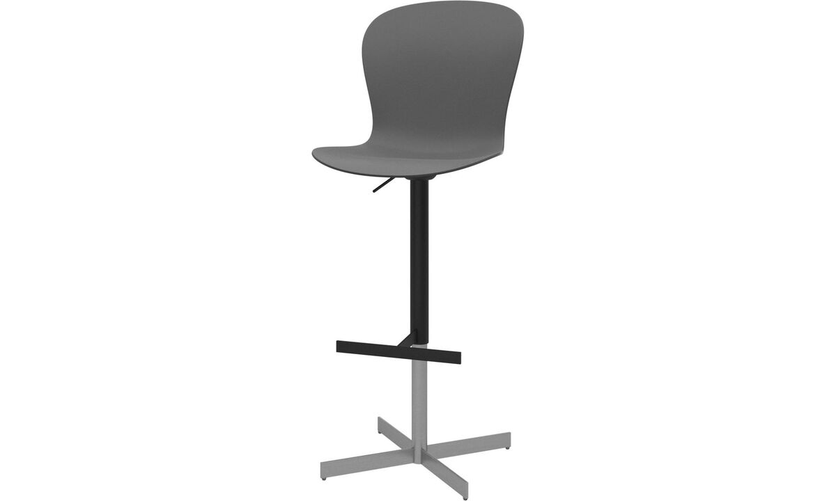 New designs - Adelaide barstool with gas cartridge - Grey - Metal