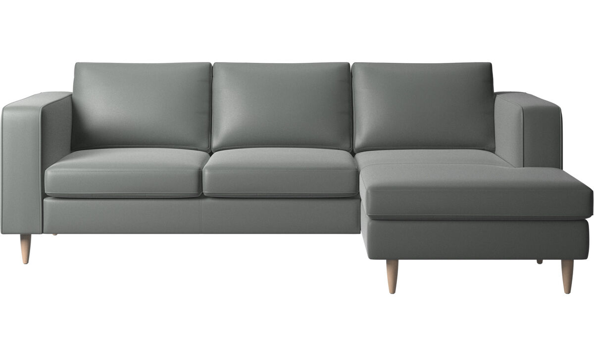 Chaise lounge sofas - Indivi 2 sofa with resting unit - Gray - Leather