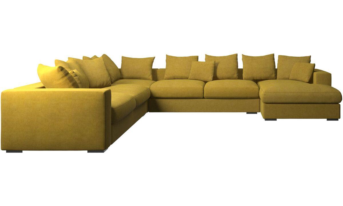 Sofás esquineros - Sofá esquinero Cenova con módulo chaise-longue - En amarillo - Tela
