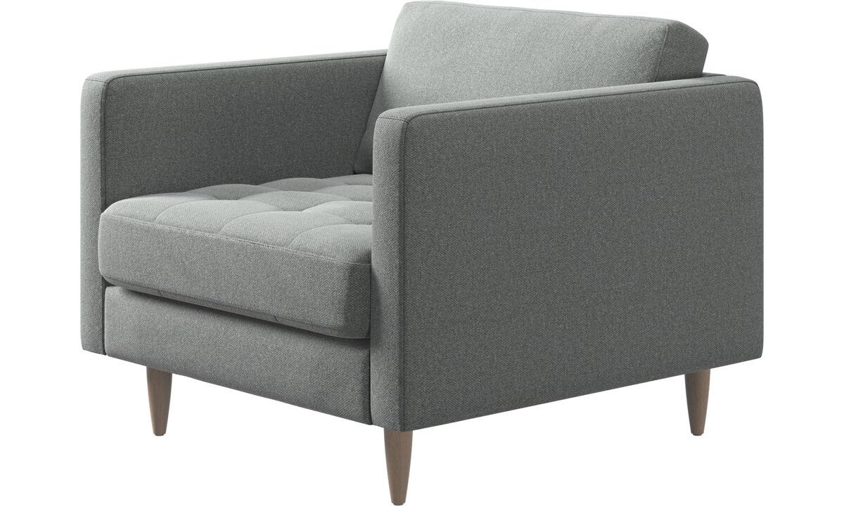 Nuevos diseños - Butaca Osaka, asiento en capitoné - En gris - Tela