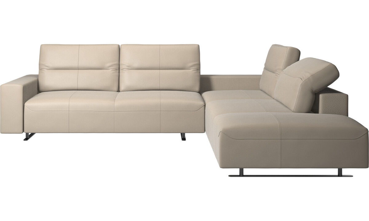 Sofas with open end - Hampton corner sofa with adjustable back and lounging unit - Beige - Leather