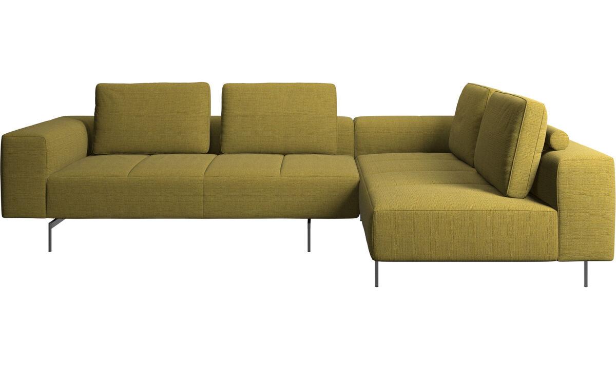 Sofás esquineros - sofá esquinero Amsterdam con módulo de descanso - En amarillo - Tela