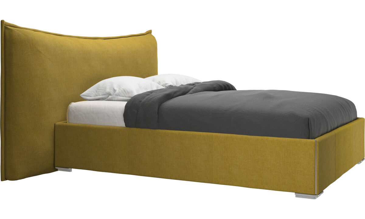 New beds - Gent storage bed with lift-up frame and slats, excl. mattress - Yellow - Fabric