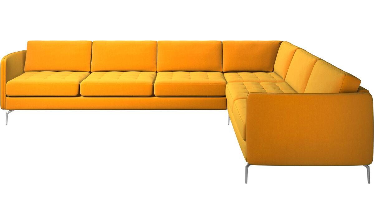 Sofás esquineros - sofá esquinero Osaka, asiento en capitoné - Naranja - Tela