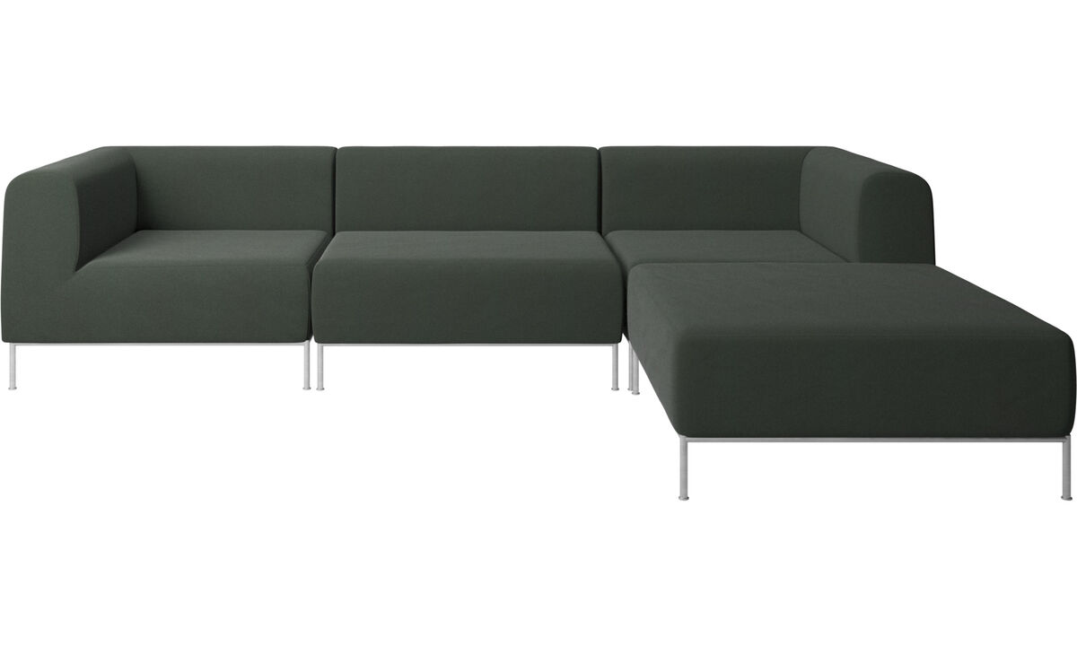 Sofas with open end - Miami sofa with footstool on right side - Green - Fabric