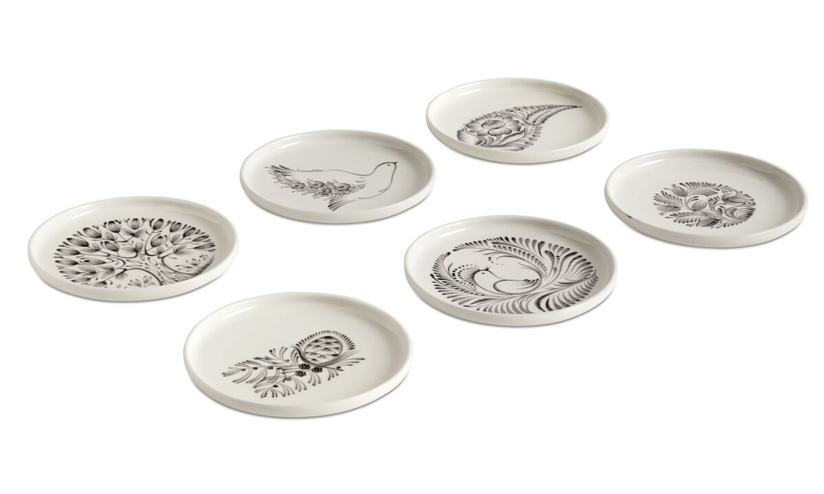 nora breakfast plates with floral pattern - White - Ceramic