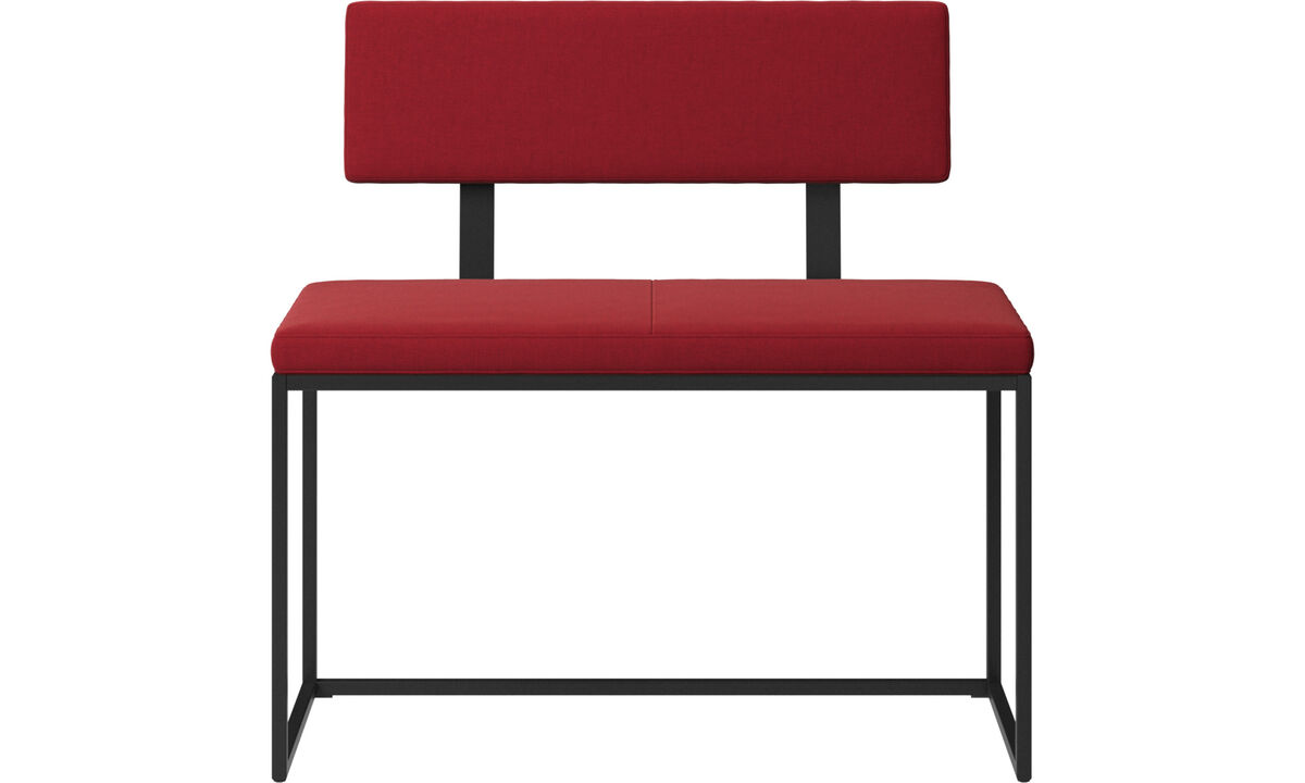Benches - London small bench with cushion and backrest - Red - Fabric