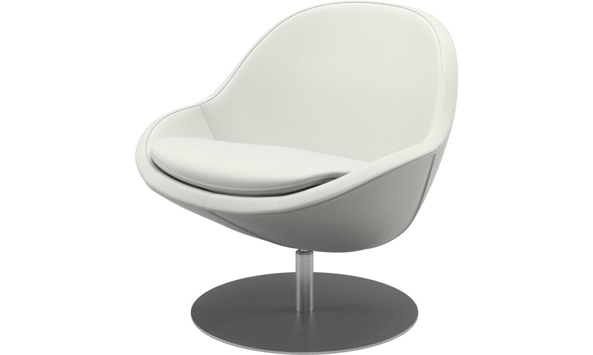 Armchairs - Veneto chair with swivel function - White - Leather