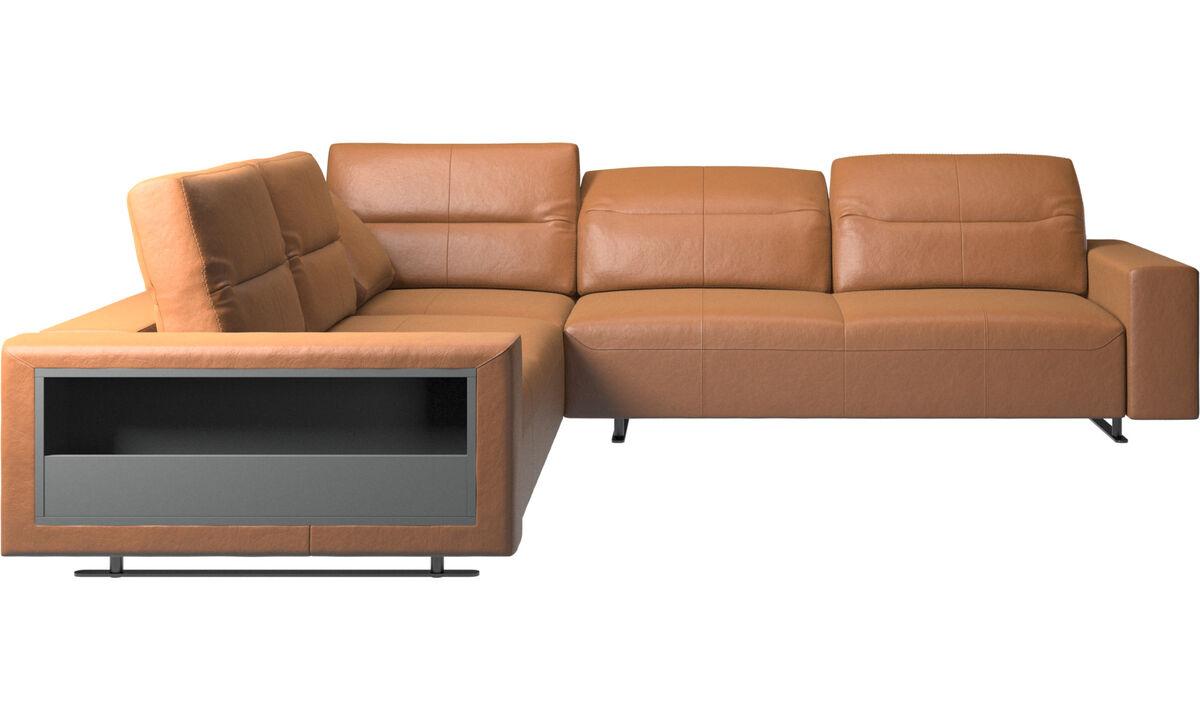 Угловые диваны - угловой диван Hampton  с регулируемой спинкой и системой хранения с левой стороны - Коричневого цвета - Кожа