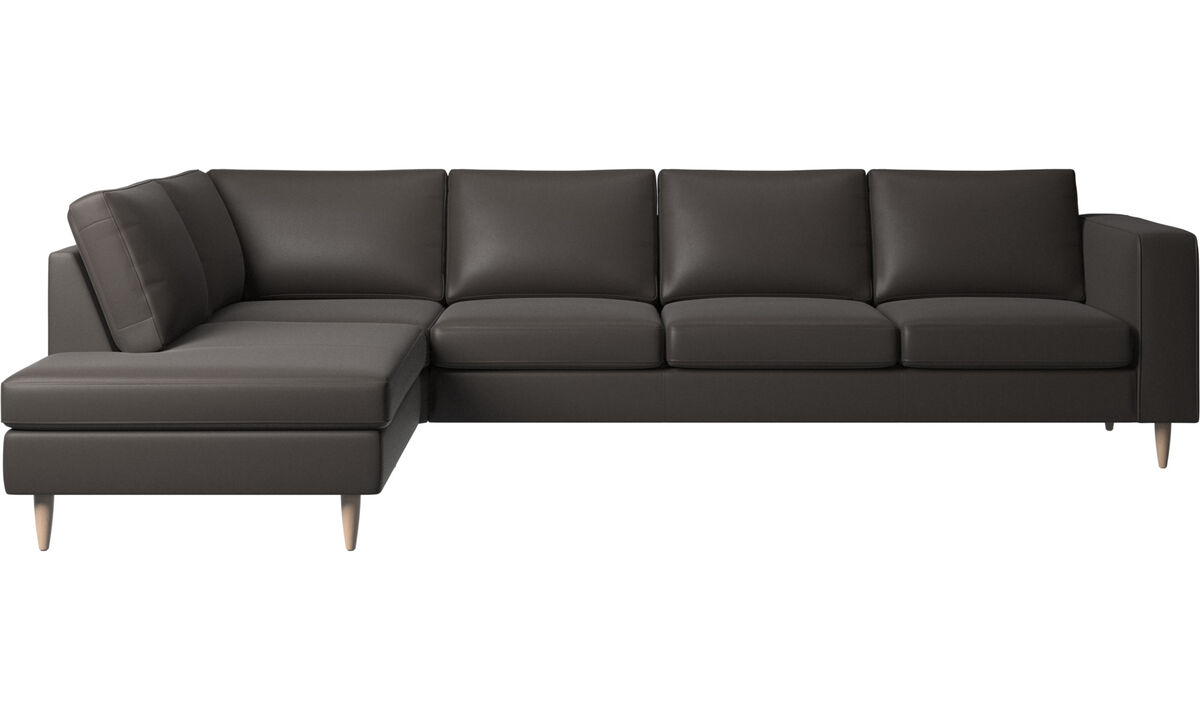 Sofas with open end - Indivi 2 corner sofa with lounging unit - Brown - Leather