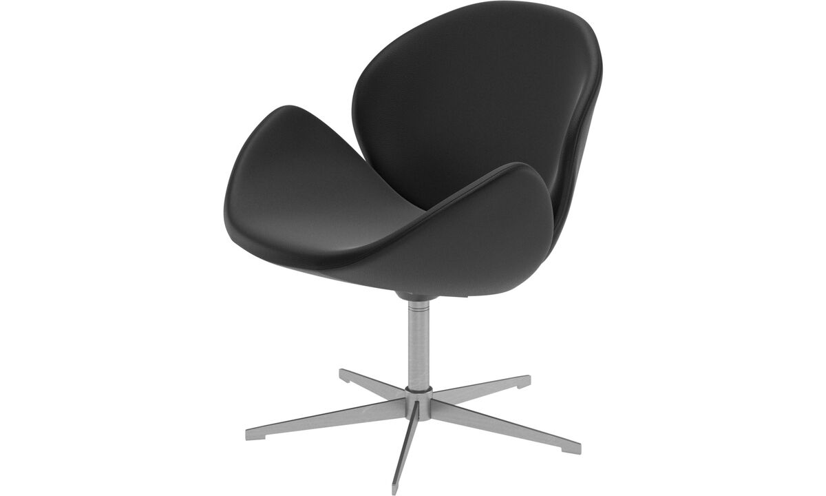 Armchairs and footstools - Ogi chair with swivel function - Black - Leather