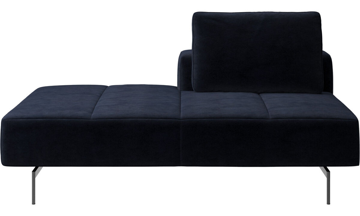 Sofas with open end - Amsterdam lounging module for sofa, small armrest left - Blue - Fabric