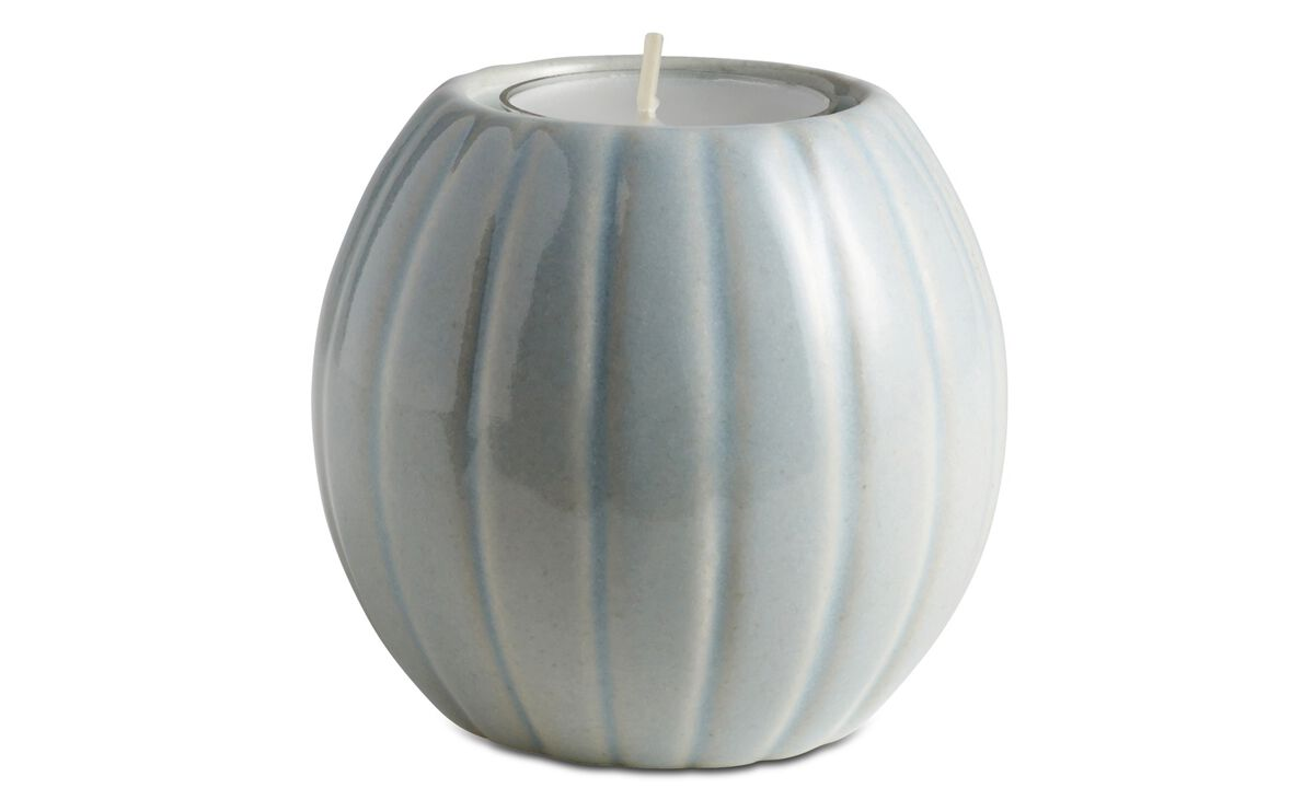 New designs - Groove tealight holder - Blue - Ceramic